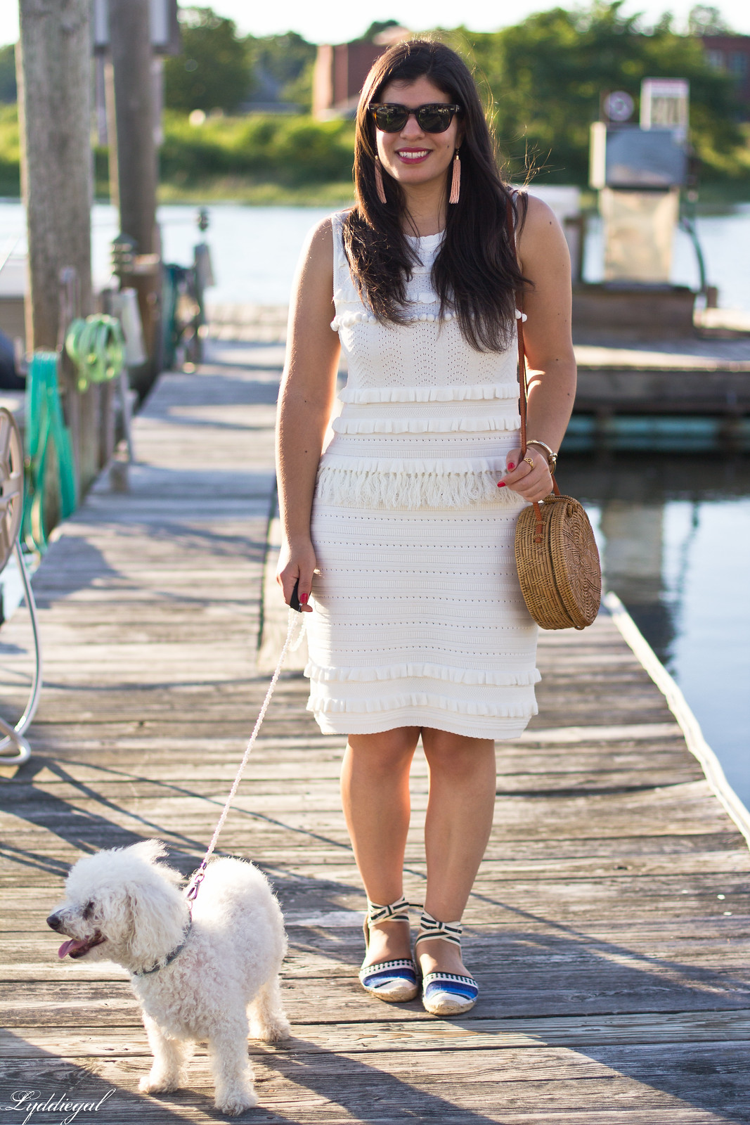 white knit dress, blue striped soludos, dog walking outfit-7.jpg