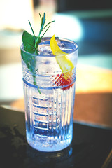Gin and tonic cocktail recipe with rosemary