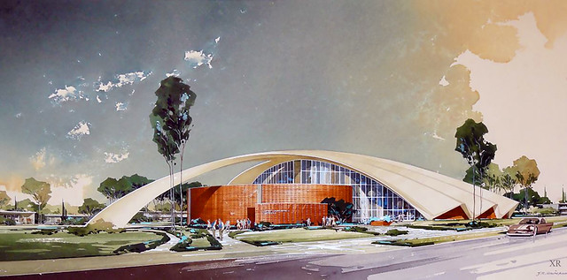Robert Frost Memorial Auditorium. Located in Culver City, California it was designed by Flewelling and Moody and completed in 1964   [R]