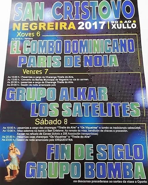 Negreira 2017 - Festas de San Cristovo - cartel