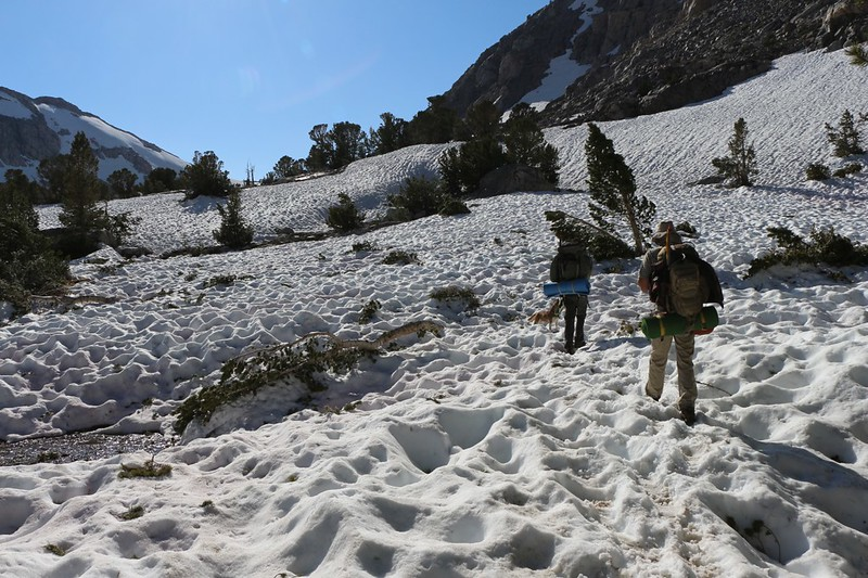 Plenty more snow and suncups as we climb the last bit toward Paiute Lake