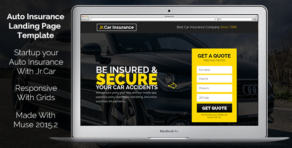 Jr. Auto Insurance v1.0 – Landing Page – Responsive Muse Template