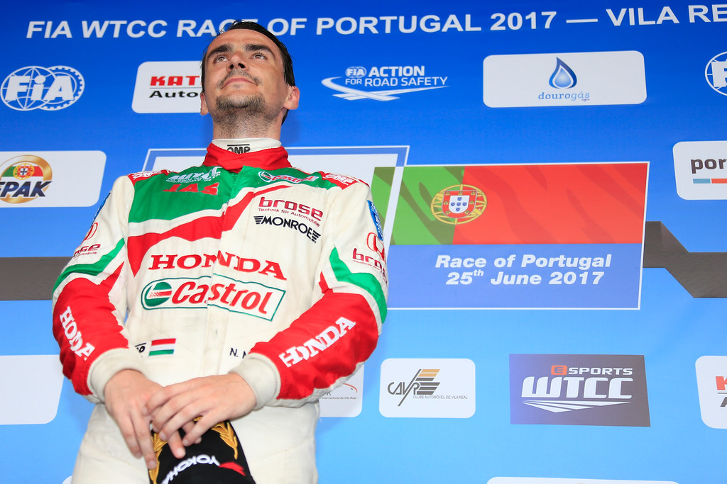 podium ambiance MICHELISZ Norbert (hun) Honda Civic team Castrol Honda WTC ambiance portrait during the 2017 FIA WTCC World Touring Car Championship race of Portugal, Vila Real from june 23 to 25 - Photo Paulo Maria / DPPI