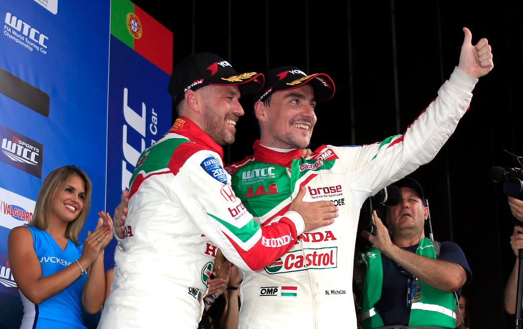 MICHELISZ Norbert (hun) Honda Civic team Castrol Honda WTC ambiance portrait MONTEIRO Tiago (prt) Honda Civic team Castrol Honda WTC ambiance portrait podium ambiance during the 2017 FIA WTCC World Touring Car Championship race of Portugal, Vila Real from june 23 to 25 - Photo Paulo Maria / DPPI