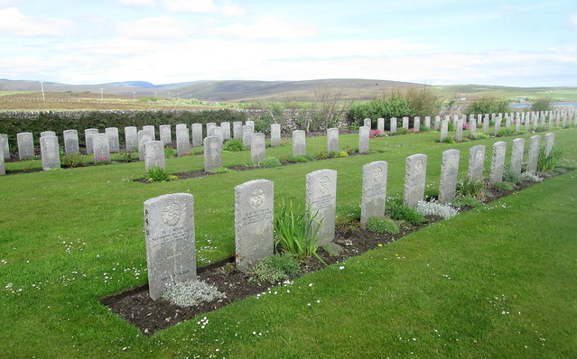 Graves at Lyness Royal Naval Cemetery, Hoy, Orkney