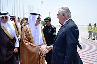 Secretary Tillerson is Greeted by Saudi Foreign Minister al-Jubeir Upon Arrival in Jeddah