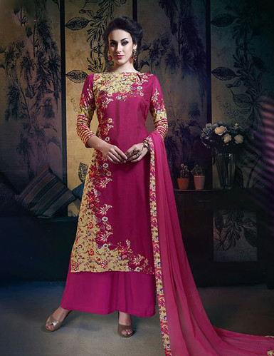 Dark Pink Embroidered Bemberg Silk Semi-Stitched Salwar Suit With Dupatta published on Wilori click http://wilori.com/product/dark-pink-embroidered-bemberg-silk-semi-stitched-salwar-suit-with-dupatta/  to open