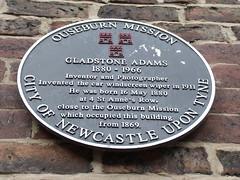 Photo of Gladstone Adams black plaque