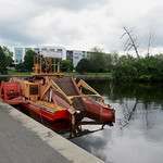 An Aquamarine weed harvester at the Hartwell Locks on the Rideau Canal in Ottawa, Ontario