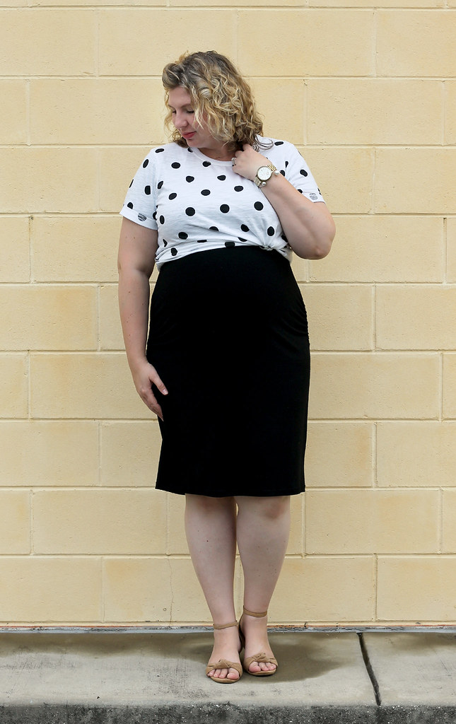 dot dot tee, maternity black dress, wedge sandals 5