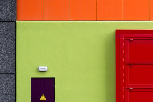 Red, green, orange, grey and purple