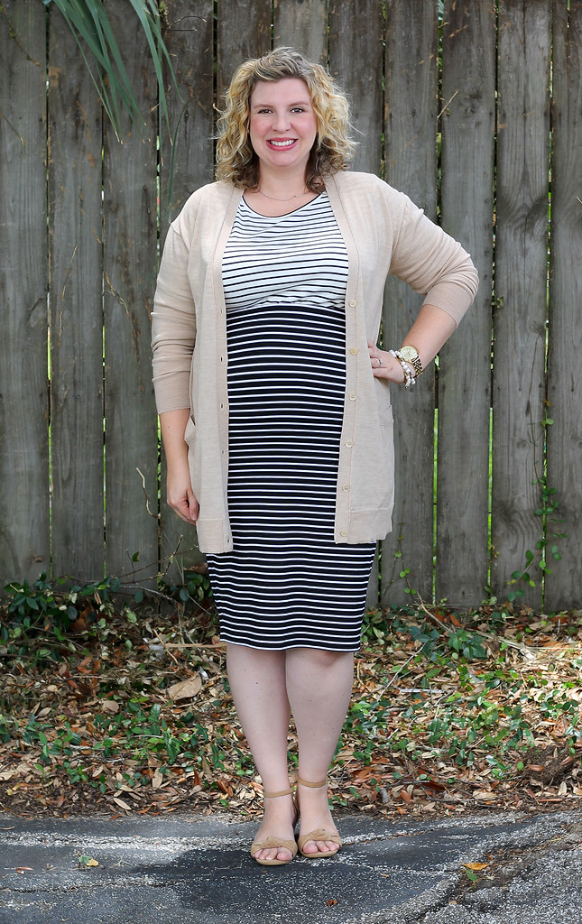 black and white stripe pencil skirt, white and black stripe shirt and tan cardigan 7