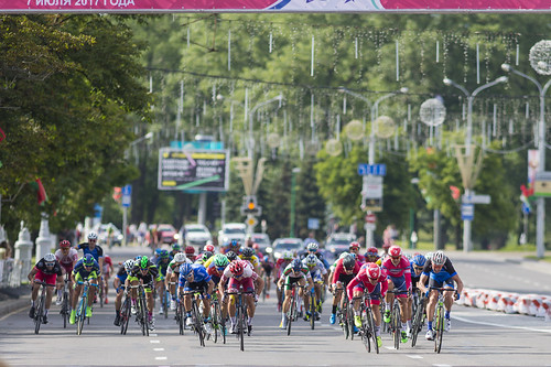 Minsk, Belarus-July 8, 2017: Evgeny Korolek from Belarus Crossing the Finish Line in Front of Peloton During International Road Cycling Competition Grand Prix Minsk-2017 on July 8, 2017 in Minsk