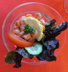 The shrimp appy, part of out three-course dinner in Bernay, France