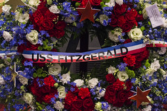 A memorial wreath is displayed during a ceremony honoring the the Sailors who died aboard USS Fitzgerald. (U.S. Navy/MC2 Raymond D. Diaz III)