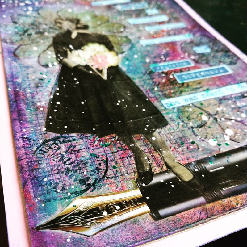 Art journal page finished. See the whole page in my stories. Used images from vintage magazines my friend @missminoes gave me and FP's from @penworldmagazine  . . . #mixedmedia #artistsofinstagram #artjournalmt #artjournal #colorcoordination #vintage #col