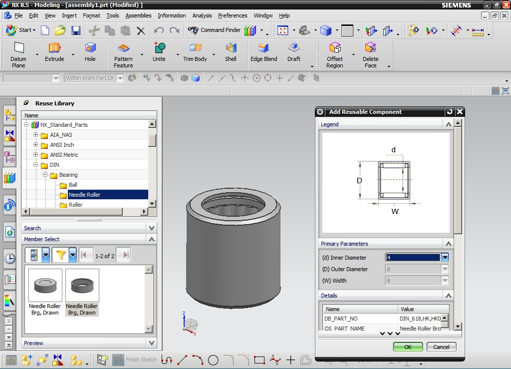 Siemens NX 8.5 Standard Parts Library