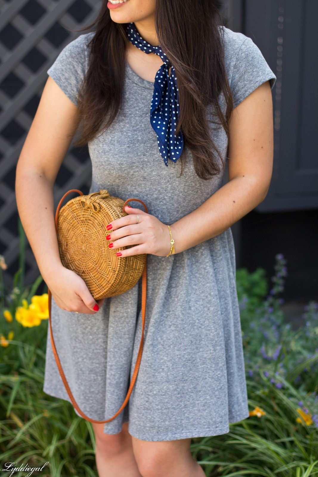 grey dress, mules, round rattan bag, straw hat-12.jpg