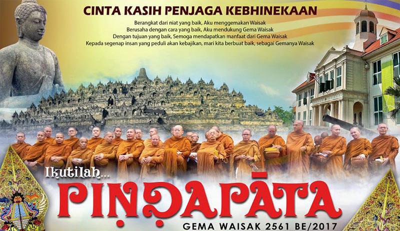 Bagian poster kegiatan prosesi pindapata Gema Waisak 2561 EB/2017 di Jakarta.