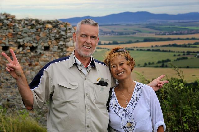 Ben and Kanitha getting holiday vitamins in Slovakia