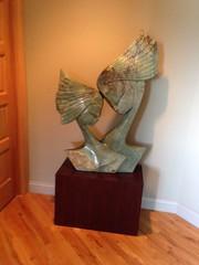 Mahogany Dyed Walnut Wood Veneer Pedestal