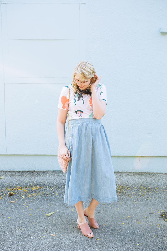 austin style blogger writes like a girl chambray madewell midi skirt2