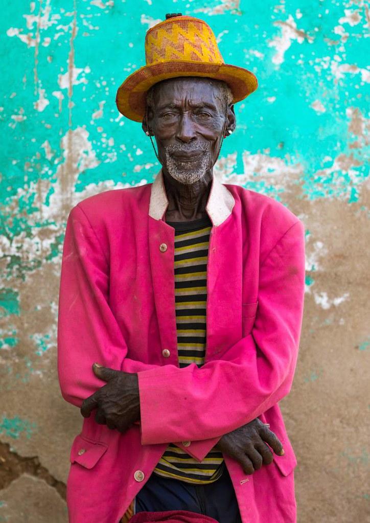 An old Hamer tribe man in Turmi market in south Ethiopia.