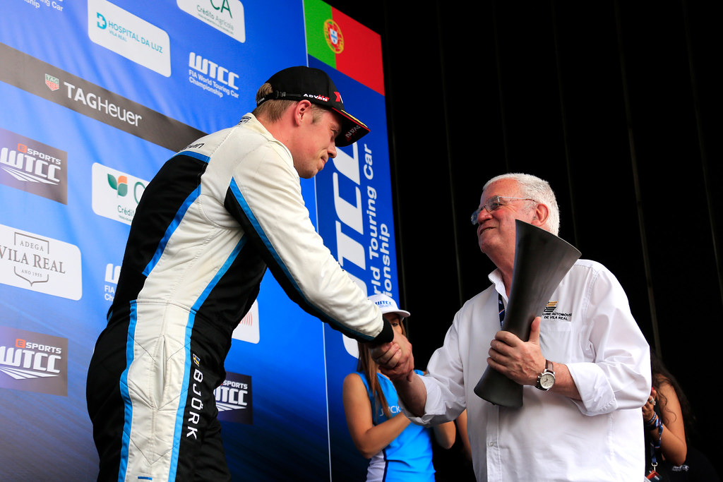 BJORK Thed (swe) Volvo S60 Polestar team Polestar Cyan Racing ambiance portrait podium ambiance during the 2017 FIA WTCC World Touring Car Championship race of Portugal, Vila Real from june 23 to 25 - Photo Paulo Maria / DPPI