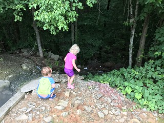 The twins play on the edge of a dark forest on one of our stops enroute to Alabama