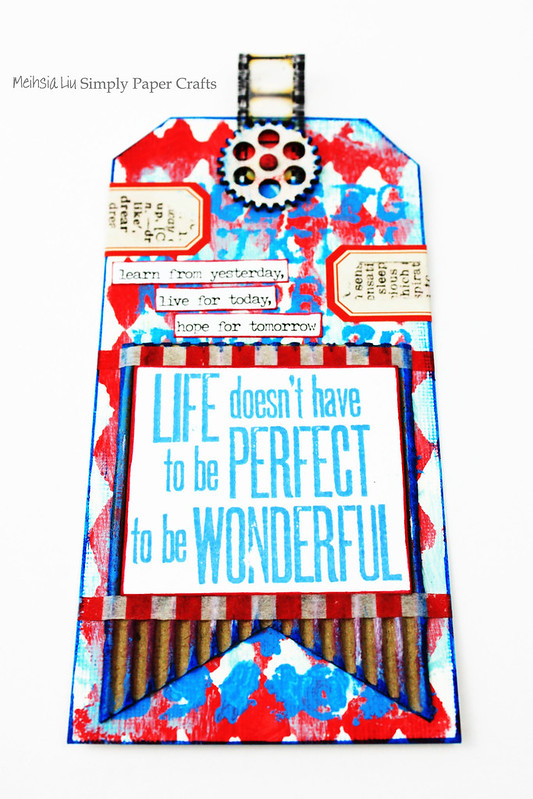 Meihsia Liu Simply Paper Crafts Mixed Media Tag Red White Blue Simon Says Stamp Tim Holtz
