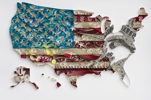 Quilled U.S.A. Map by Akiko Makihara