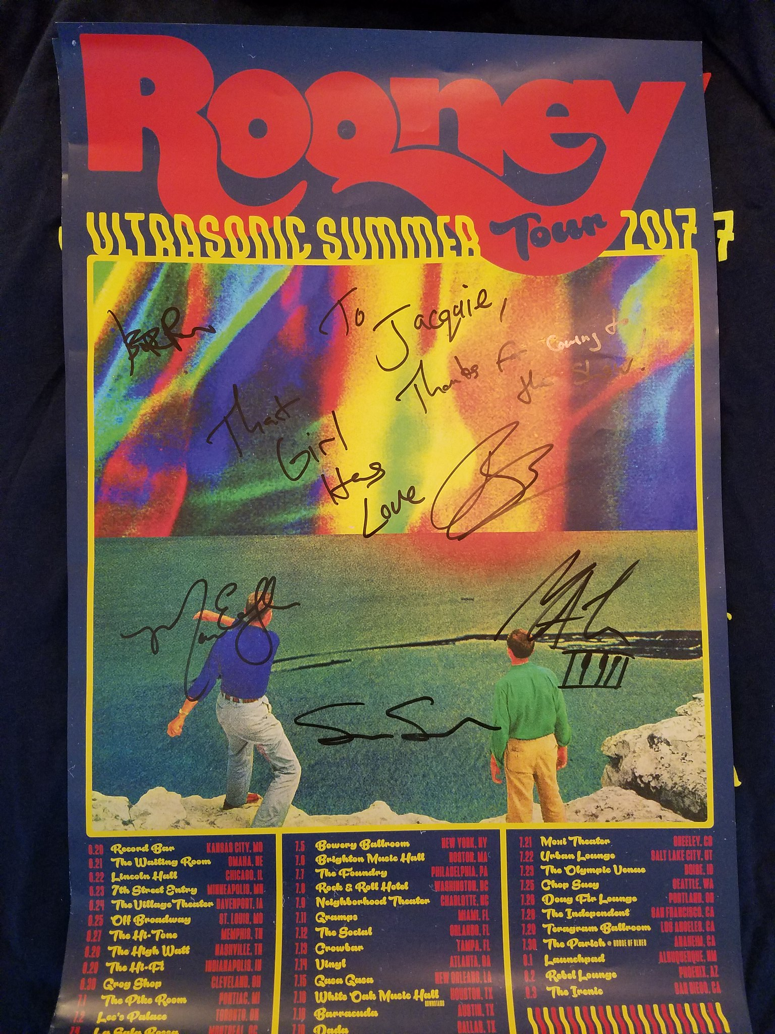 Signed poster from the Rooney Ultrasonic Summer Tour