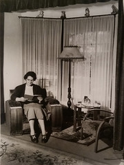 Ruth Goldfinch in lounge at St Anne's, 1952.