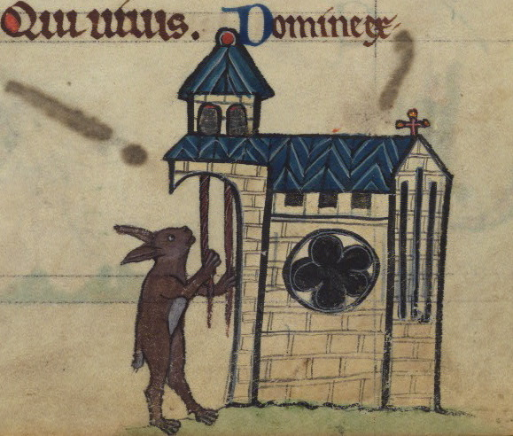 Rabbit tolling church bells, detail from fol. 81r.