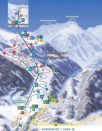 Biberwier - Marienberg - mapa sjezdovek