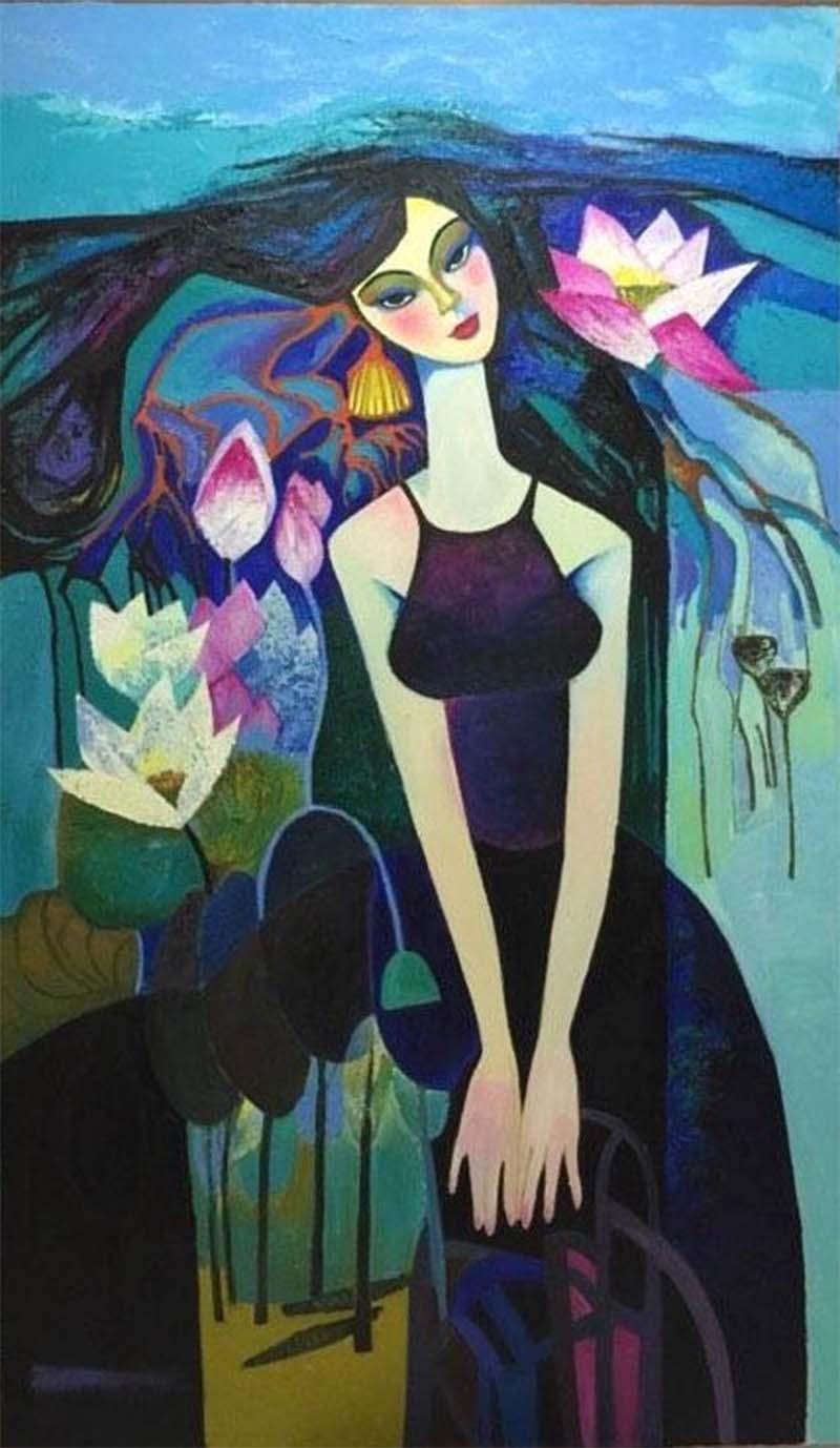 """Triển lãm tranh của các nữ họa sĩ ba miền - Chủ đề: """" Sắc hoa Bắc Trung Nam """" 3"""
