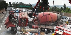 Cement Truck Overturns on Busy L.A. Freeway