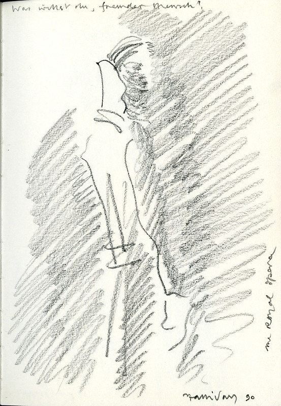 Was willst du, fremder Mensch? Page 17 of Alan Halliday's sketchbook of the general rehearsal of Elektra, The Royal Opera, 1990 © ROH Collections