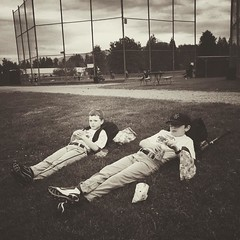 Chilling out with his buddy after the last game of the season - @edibleshelf ... #baseball #youthbaseball #friends #lastgame