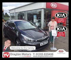 Mrs Lawrence collecting her Ceed from Adrian. Mrs Lawrence was kindly referred to us by her friend so we would like to say thank you so much to you both!