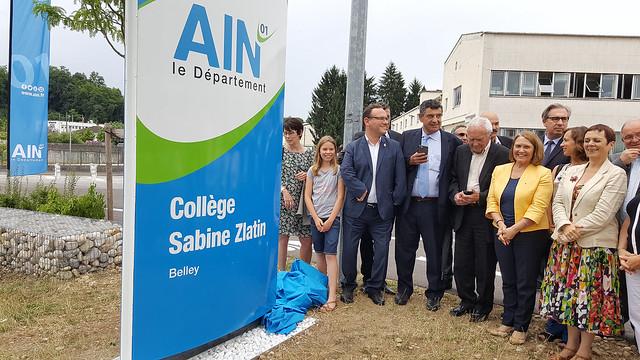 Cérémonie de la révélation du nom du collège de Belley en hommage à Sabine Zlatin