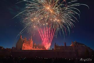 Le château comme un volcan coloré lors du feu d'artifice du 14 juillet, Nantes © Bernard Grua