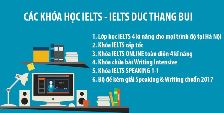 khoá học IELTS đa dạng tại IELTS Duc Thang Bui