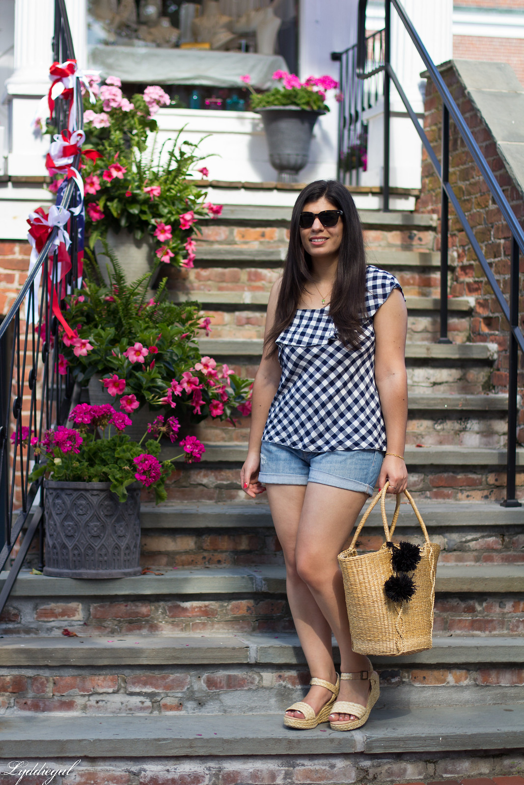 gingham one shoulder top, denim shorts, straw tote.jpg