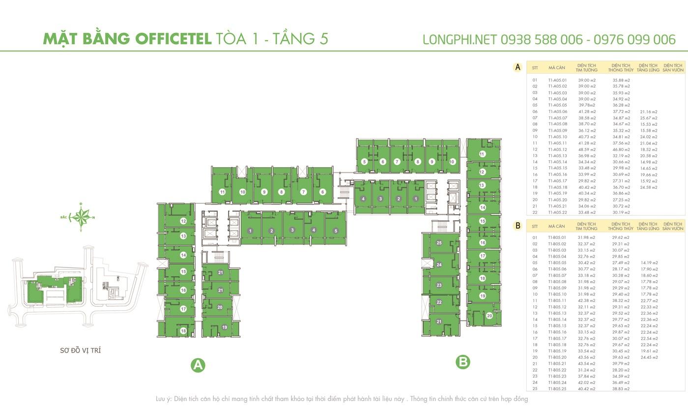 Mặt bằng căn hộ officetel M-One tầng 5 tháp T1.