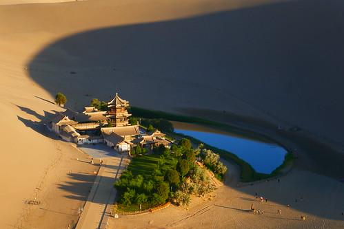 china dunhuang gobidesert dunes sand crescentmoon oasis lake