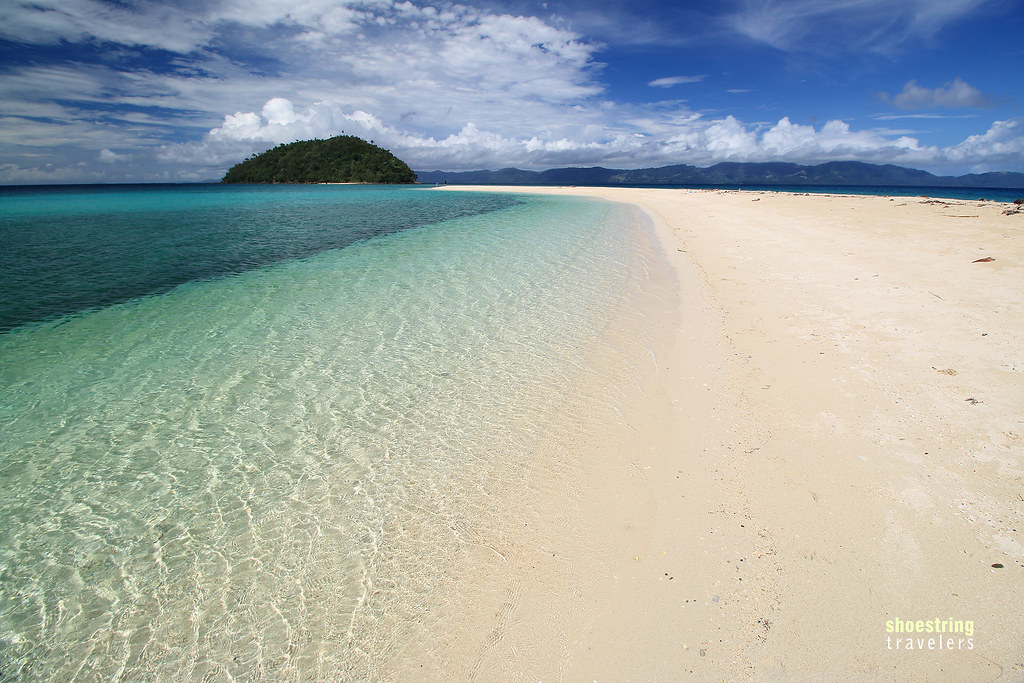 the Bonbon Beach sandbar with Bangug Island in the background