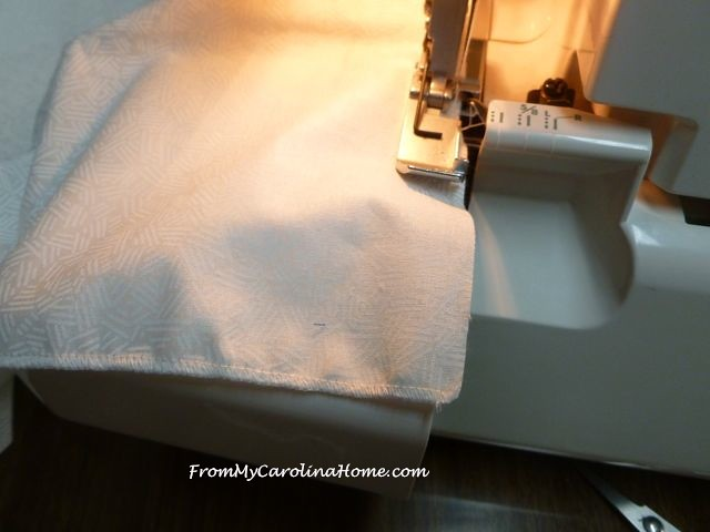 Serging White Napkins for Summer Luncheon at From My Carolina Home