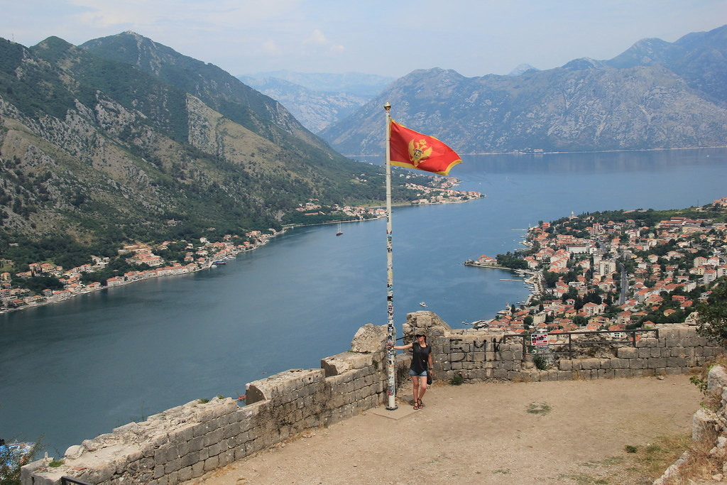 At the top of St. John's Fortress overlooking the Bay of Kotor