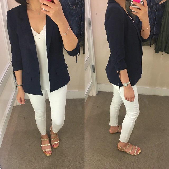 LOFT Cinched Sleeve Open Blazer in navy, size 00P